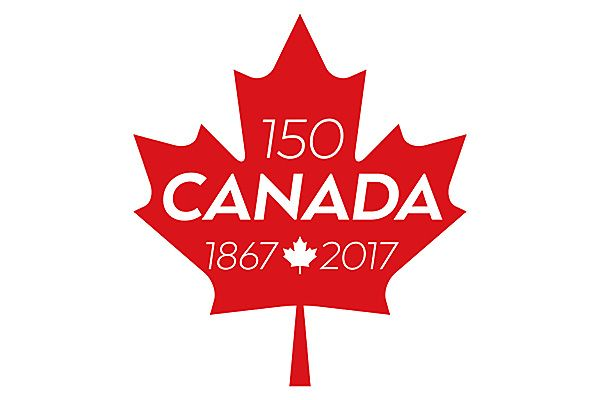Red maple leaf to celebrate Canada's 150th birthday from 1867 to 2017